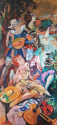 """Panneau décoratif """"Allégorie sur la musique"""" Huile sur toile 111x237 cm"""