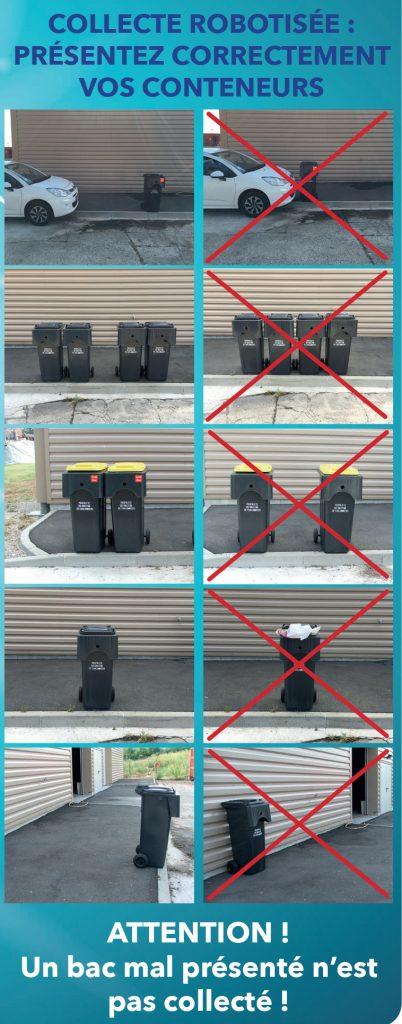 Collecte robotisée : Présentez correctement vos conteneurs. ATTENTION : Un bac mal présenté n'est pas collecté !